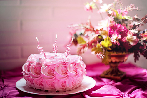Crest celebrates three sucessful years with a pink cake